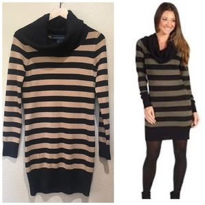 French Connection Cowl Neck Striped Sweater Dress
